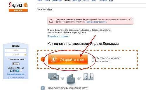 открыть счет в системе Яндекс Деньги