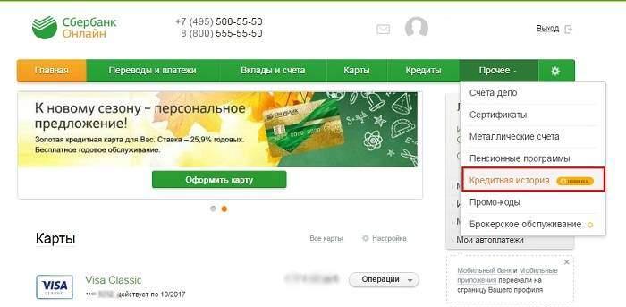 раздел кредитная история в сбербанк онлайн