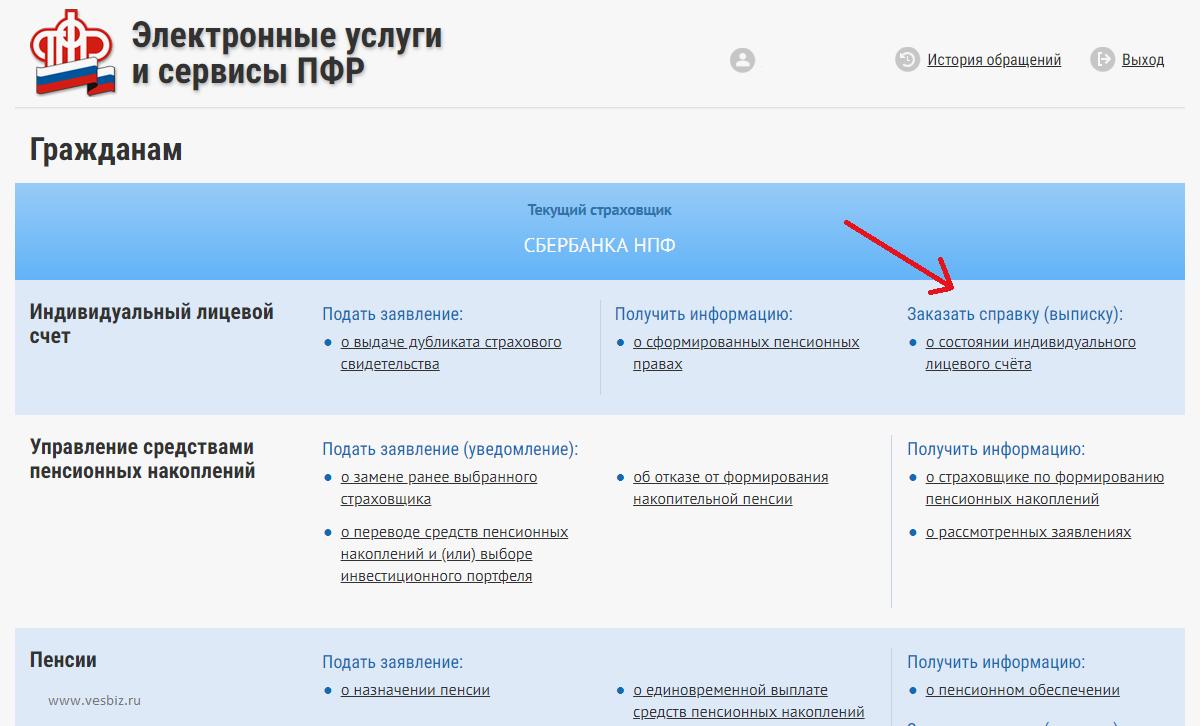 Заказать выписку на сайте ПФ РФ